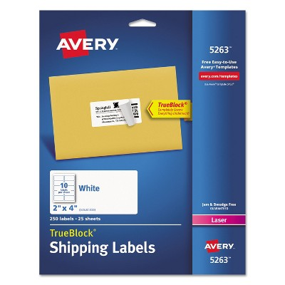 Avery Shipping Labels with TrueBlock Technology Laser 2 x 4 White 250/Pack 5263
