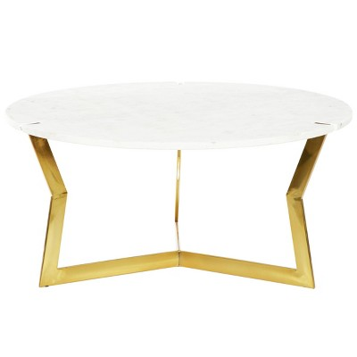 Contemporary Marble and Stainless Steel Coffee Table White - Venus Williams Collection