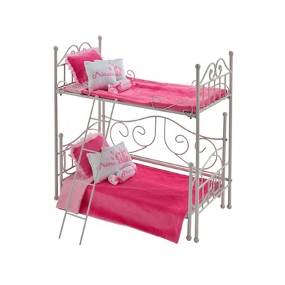 Badger Basket Scrollwork Metal Doll Loft Bed with Daybed and Bedding - White/Pink