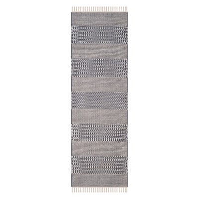 2'3 X6' Stripe Woven Runner Ivory/Navy - Safavieh