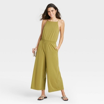 Women's Sleeveless Smocked Waist Jumpsuit - A New Day™