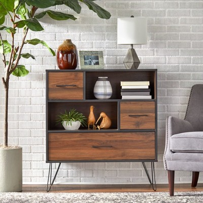 Vintage Living Cabinet Black/Walnut - Buylateral