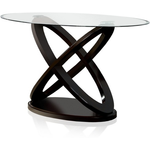 Iohomes X Crossed Base Glass Table Top Counter Dining Table Wood