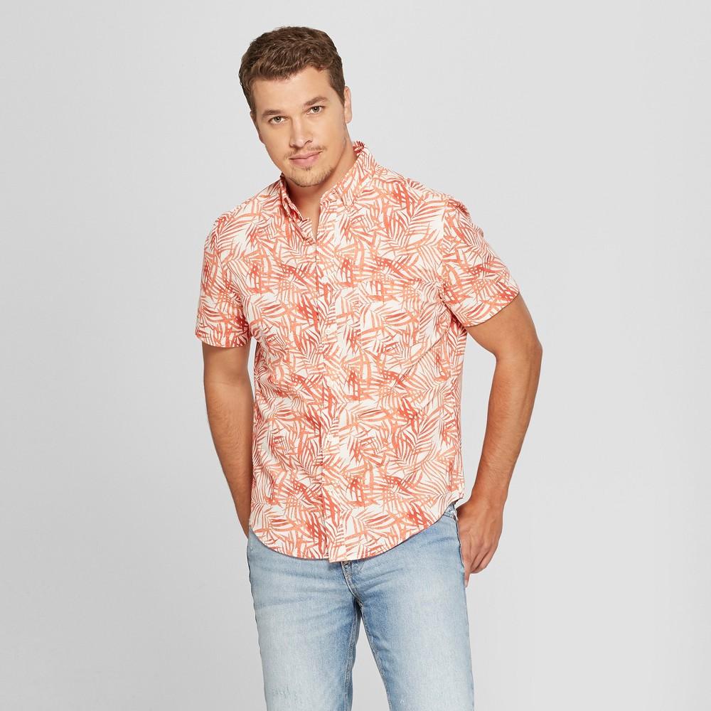 Men's Short Sleeve Poplin Button-Down Shirt - Goodfellow & Co Jewel Orange L, Red
