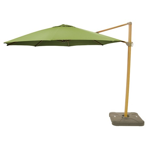 Sunbrella 11 Round Offset Patio Umbrella With Base Light Faux Wood Pole Smith Hawken