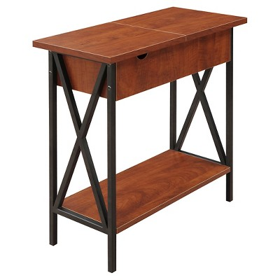 Tucson Flip Top End Table with Charging Station Black/Cherry - Breighton Home