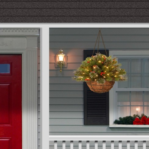 20 Crestwood Spruce Hanging Basket With Battery Operated Warm White Led Lights National Tree Company Target