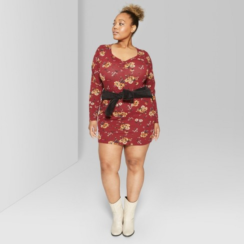 ea4e68bcb4217 Women s Plus Size Long Sleeve Ruched Front Knit Dress - Wild Fable™ Burgundy