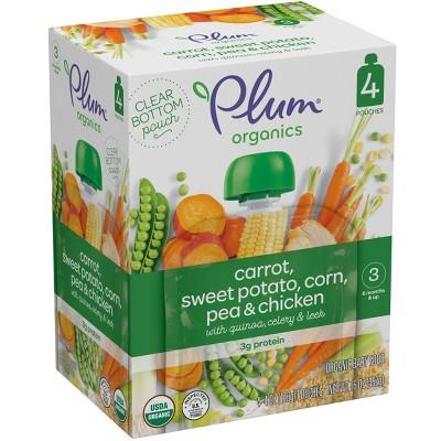 Plum Organics 4pk Carrot Sweet Potato Corn Pea & Chicken Baby Food - 16oz