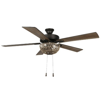 """52"""" 5-Blade LED Woven Rope Lighted Ceiling Fan - River of Goods"""
