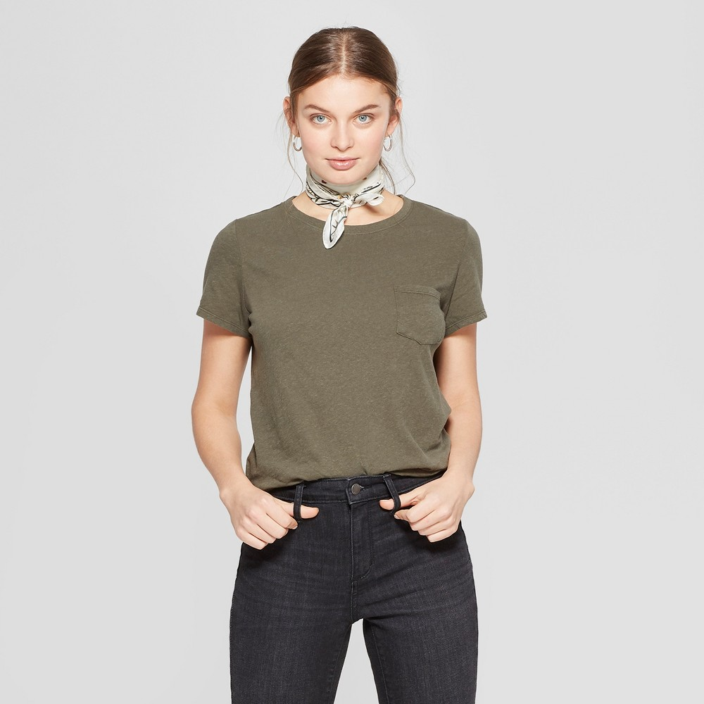 Women's Short Sleeve Crew Neck Meriwether Pocket T-Shirt - Universal Thread Olive (Green) L