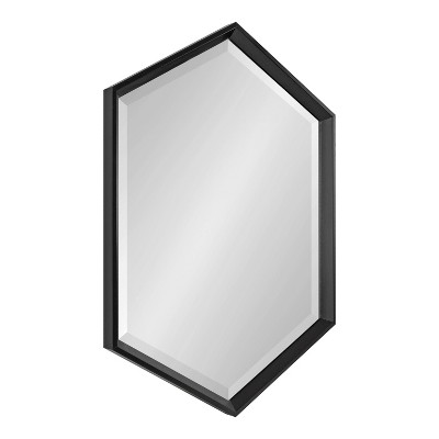 "22"" x 31"" Calder Hexagon Wall Mirror Black - Kate & Laurel All Things Decor"