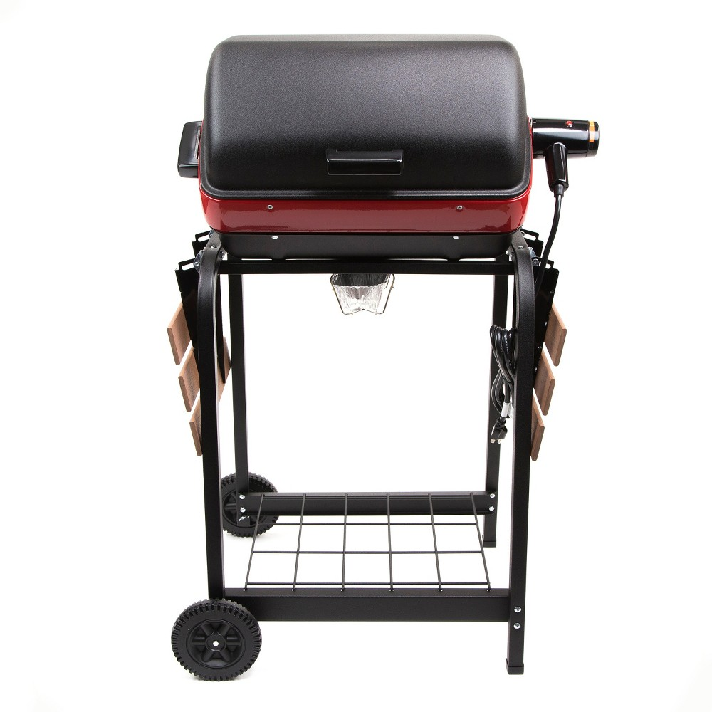 Easy Street Electric Cart Grill with Composite Wood Side Tables and Shelf 9325.8.181, Black 52716229