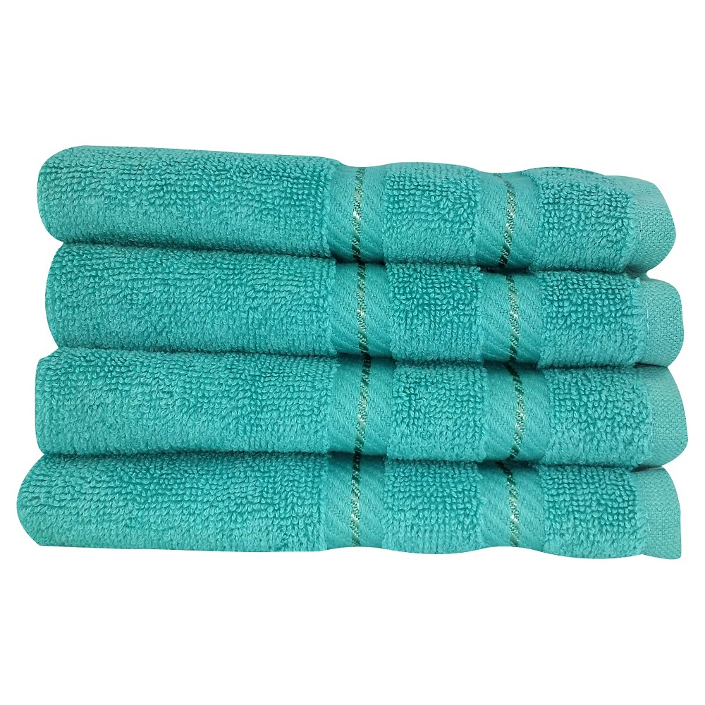 Image of 4pc Antalya Turkish Washcloth Towels Set Aqua - Makroteks