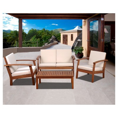Laguna Beach 4-Piece Eucalyptus Wood Patio Set with Off-White Cushions - Brown