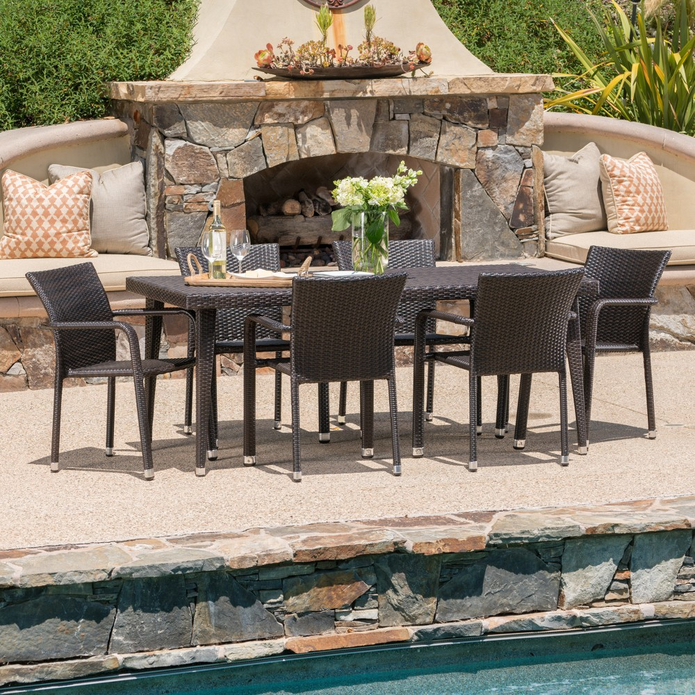 Rutledge 7pc Wicker Dining Set - Brown - Christopher Knight Home