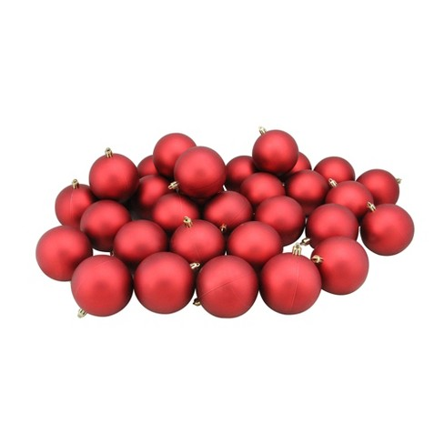 Red Christmas Ball Ornaments.Northlight 32ct Shatterproof Matte Christmas Ball Ornament Set 3 25 Red