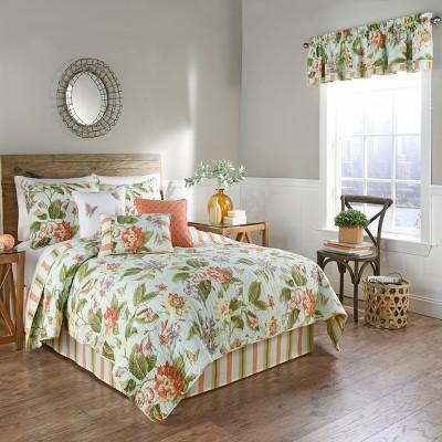 4pc King Floral Stripe Laurel Springs Quilt Set - Waverly