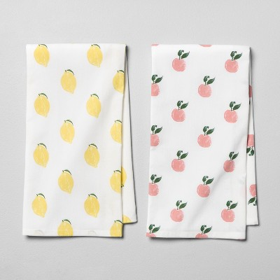 2pk Multi Fruits Kitchen Towel Yellow/Peach - Opalhouse™