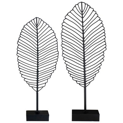 "Raz Imports Set of 2 Black Leaf On a Stand Sculptures 22.25"""