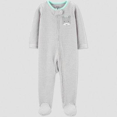 Baby Girls' Thermal Stripe Sleep 'N Play - Just One You® made by carter's Gray Newborn