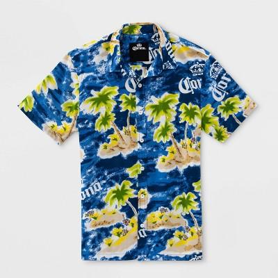 Men's Corona Short Sleeve Button-Down Shirt - Blue