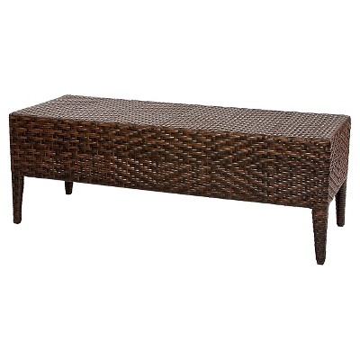 Wicker Patio Bench - Brown - Christopher Knight Home