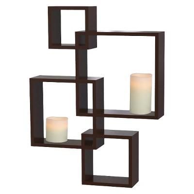 Interlocking Display Shelf with 2 LED Candles - Espresso - Threshold™