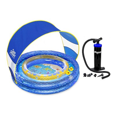 Aqua Leisure Sun Smart AZP15225 SunSmart Lazy River Kiddie Pool with 50 UPF Sun Shade & Dual Action Hand Pump with 4 Nozzle Adapters Attachments