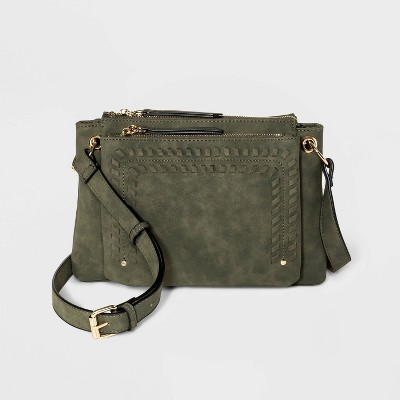 VR NYC Zip Closure Wipstitch Crossbody Bag - Olive Green