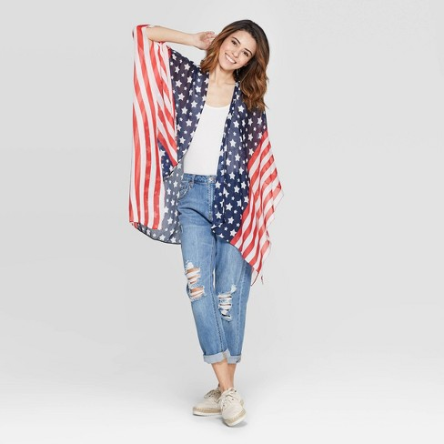 Women's Collection XIIX Americana Layering Ruana - Red - image 1 of 2