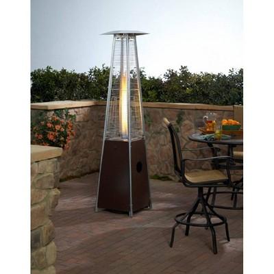 Hammered Metal Tall Glass Tube Portable Patio Heater - Golden Bronze - AZ Patio Heaters