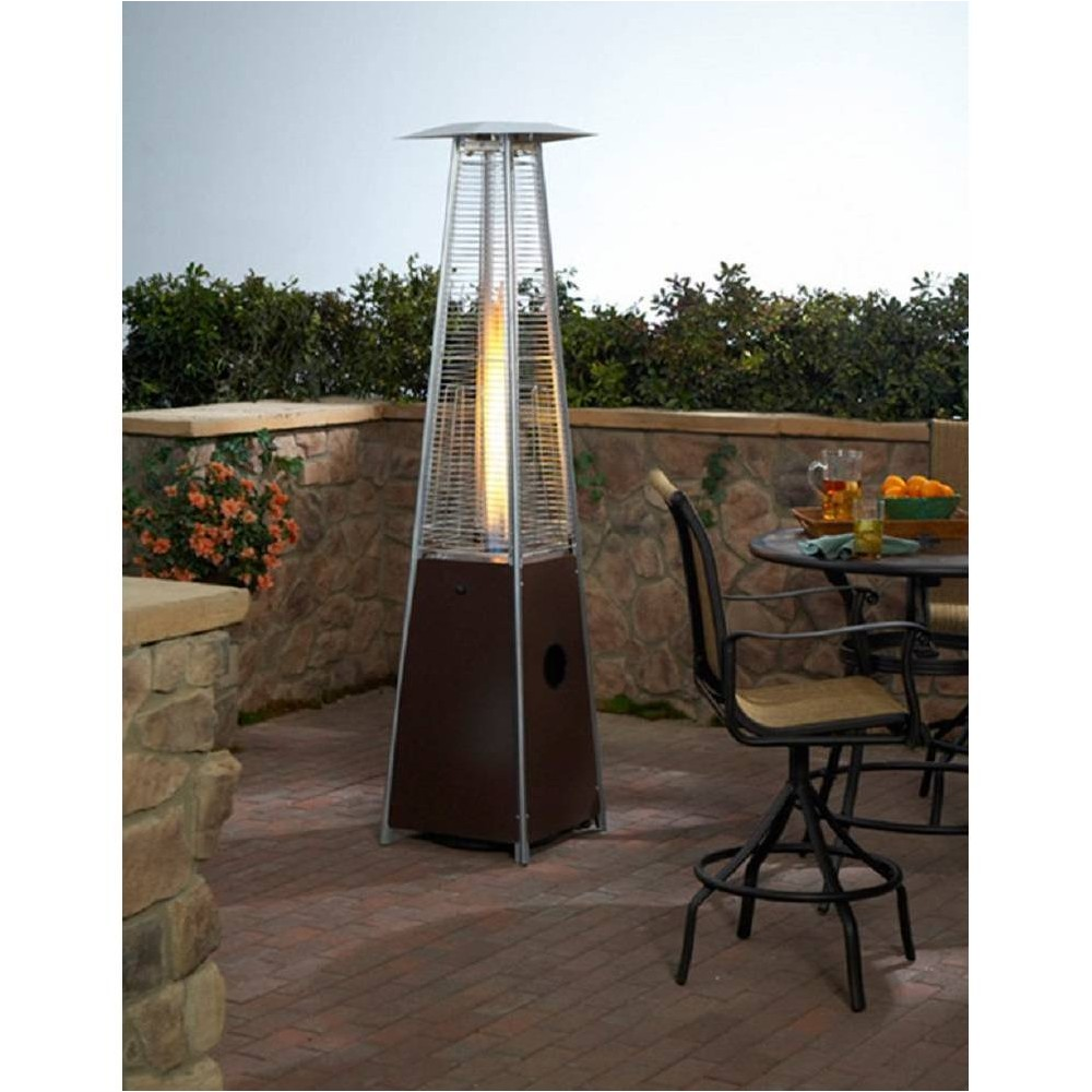 Image of Hammered Metal Tall Glass Tube Portable Patio Heater - Golden Bronze - AZ Patio Heaters, Brown