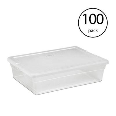 Sterilite 28 Quart Clear Bin Storage Box Tote Container w/ White Lid (100 Pack)