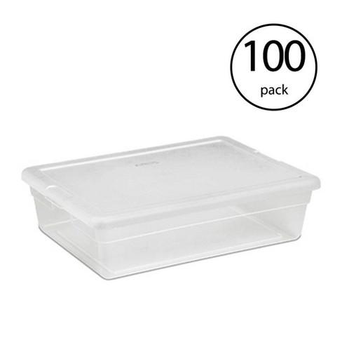 Sterilite 28 Quart Clear Bin Storage Box Tote Container W White Lid 100 Pack Target