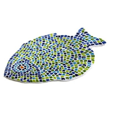 """24""""x36"""" Fish Mosaic Collection 100% Cotton Blue Bath Rug - Better Trends"""