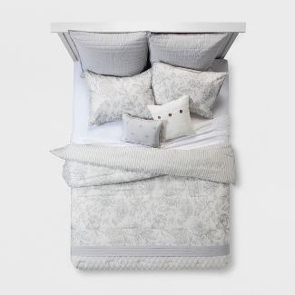 Queen 8pc Sloane Linework Floral Comforter Set Gray