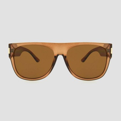 Women's Oversized Crystal Flat Top Square Sunglasses - A New Day™ Brown