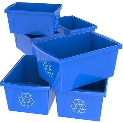 Storex 6pk Recycle Bins - Blue