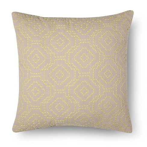 Sandalwood Geo Embroidered Square Throw Pillow - Room Essentials™ - image 1 of 2