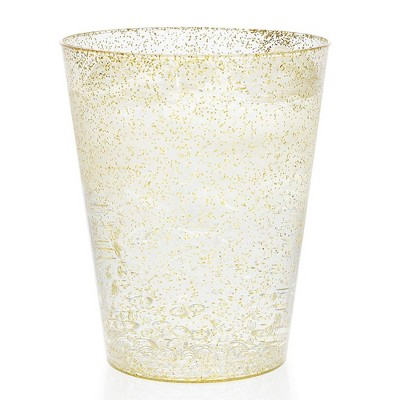 Juvale 100-Pack Gold Glitter Disposable Plastic Tumbler Cups 8 oz Party Supplies