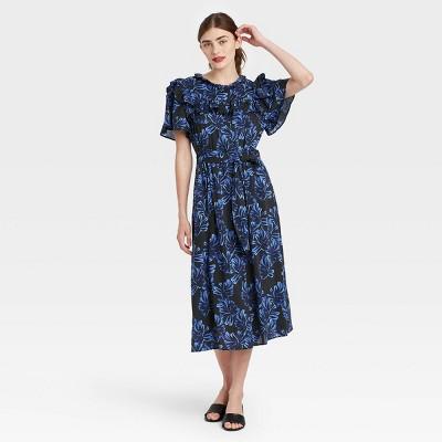 Women's Printed Ruffle Short Sleeve Shirtdress - Who What Wear™ Black
