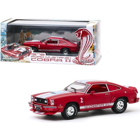 1978 Ford Mustang II Cobra II Red with White Stripes and Red Interior 1/43 Diecast Model Car by Greenlight - image 1 of 3