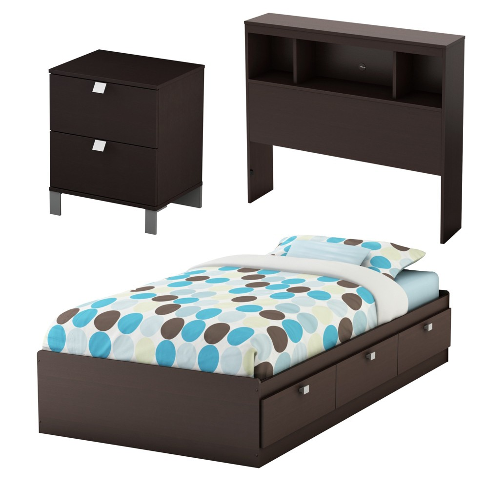 Image of 3pc Spark Kids Bedroom Set Twin Chocolate - South Shore