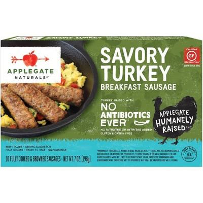 Applegate Naturals Savory Turkey Breakfast Sausages - Frozen - 7oz/10ct