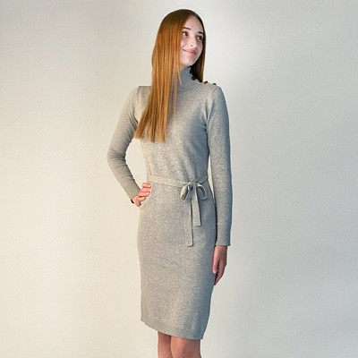 Hope & Henry Womens' Mock Neck Sweater Dress with Button Detail