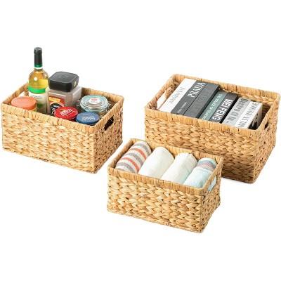 Vintiquewise Natural Woven Water Hyacinth Wicker Rectangular Storage Bin Basket with Handles, Set of 3
