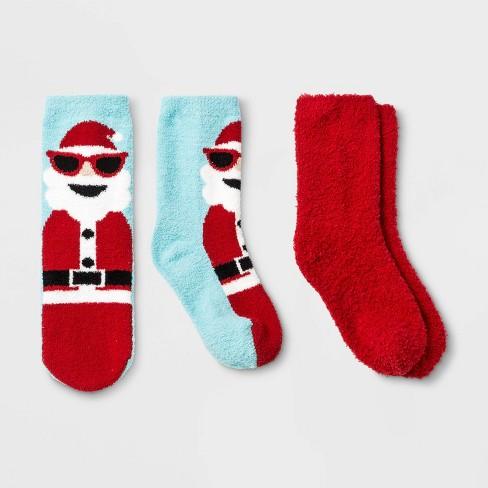 Kids' 2pk Santa Holiday Cozy Socks - Wondershop™ Red - image 1 of 1