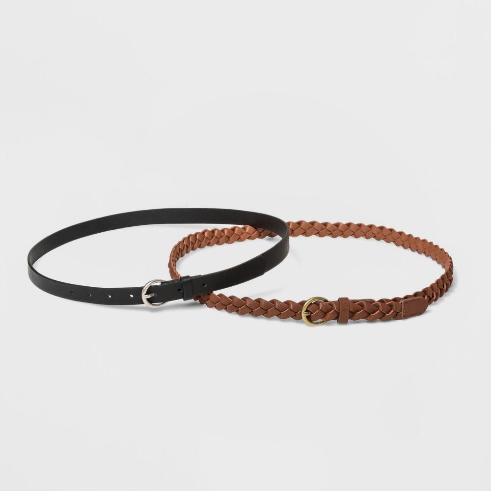 Women S 2pk Belt Universal Thread Braid Smooth L Black Brown