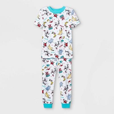 Toddler 2pc Dr.Seuss 100% Cotton Short Sleeve Snug Fit Pajama Set - White